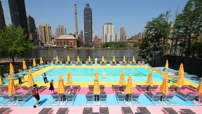 Manhattan Park on Roosevelt Island Candy Colored Pool